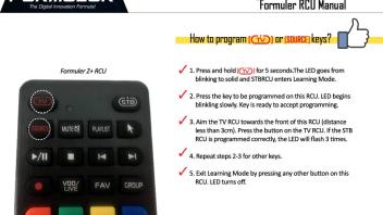 user manual remote control formuler Z+ - Allgemeines zum